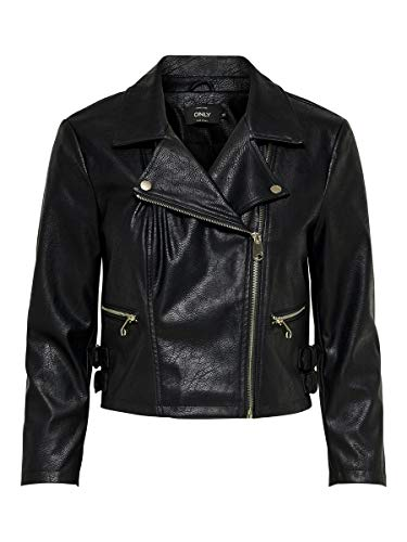 ONLY Damen ONLBECCY CROP7/8 Faux Leather Jacket OTW Jacke, Schwarz (Black Black), X-Small (Herstellergröße: 34)