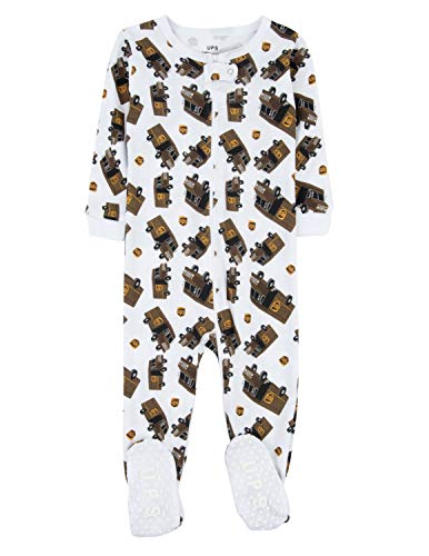 Leveret UPS Truck Footed Pajama Sleeper 100% Cotton White 18-24 Months