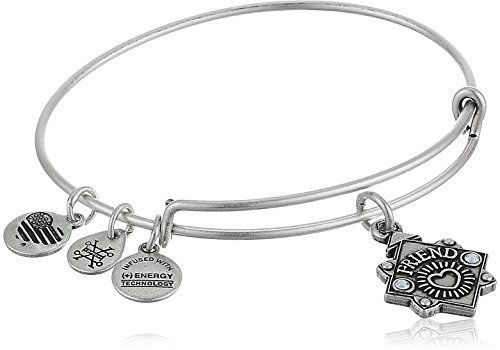 Alex and Ani Womens Because I Love You, Friend Charm Bangle Bracelet, Rafaelian Silver, Expandable