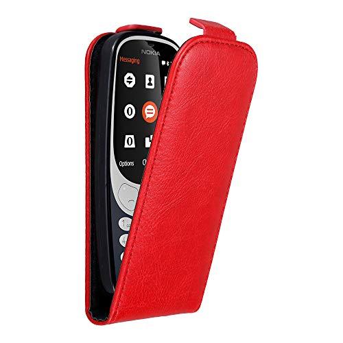 Cadorabo Hülle für Nokia 3310 in Apfel ROT - Handyhülle im Flip Design mit unsichtbarem Magnetverschluss - Hülle Cover Schutzhülle Etui Tasche Book Klapp Style