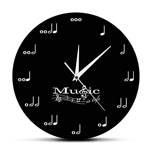 KKLLHSH Music Is Life Inspirational Orologio da Parete Note Musicali Orologio Musicale Chiave di Violino Stave Music Studio Orologio da Parete Appeso Regalo Musicista