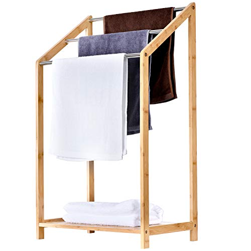 ToiletTree Products Bamboo Towel Rack Holder for Bathrooms (3 Tier) - Freestanding Beach Towel & Poolside Rack with Bottom Storage Shelf – Organizer for Bath, Hand Towel, Wash Cloths
