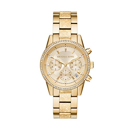 Michael Kors Damen Chronograph Quarz Uhr mit Edelstahl Armband MK6597