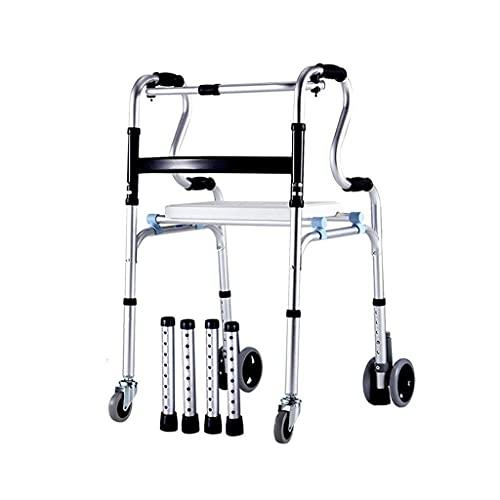 AWJ Marco Que Camina Plegable Plegable de la aleación de Aluminio del bastón de Asiento de 4 Ruedas para los Ancianos ⭐