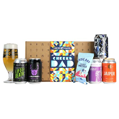 Cheers Dad Craft Beer Box Gift Set by Beer Hawk - Perfect Craft Beer Gift Hamper with 5 Craft Beer Cans,1 Tasting Glass and 1 Delicious Snack