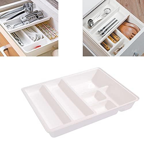 GUOGEGE Portacubiertos Cajon, Estuche Plastico Inserto de Cubiertos Extraíble como Organizador de Cocina, Inserto de Cajón 12.3 * 9.5 * 2.6 in, como Cubertero u Organizador de la Cocina