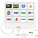 TV Antenna, 2021 Indoor Digital TV Antenna with Amplifier Signal Booster - 200 Miles Range, HD Antenna Support 4K 1080P Local Channels - 16.5 Ft Coax Cable (White)