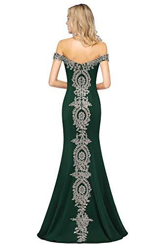 MisShow Damen Off Shoulder Abendkleid für Hochzeit Chiffon Kleid mit Stickerei lang Dunkel Grün 38