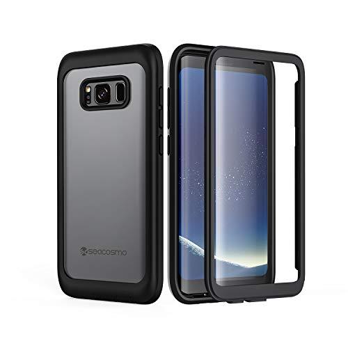 seacosmo Galaxy S8 Hülle, Stoßfest Handyhülle Samsung Galaxy S8 360 Grad vollschutz Case Rugged S8 Cover mit eingebautem Displayschutz, Schwarz