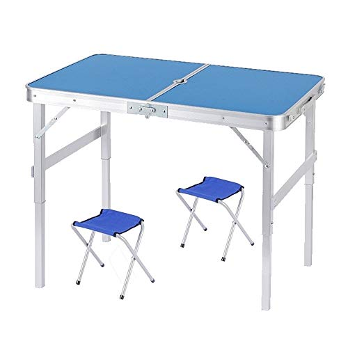 BUYT Picnic Tables Portable Outdoor Dining Table, Height Adjustable Picnic Table and Chair Set with Umbrella Hole (Size : 2 Chairs)