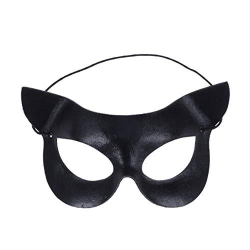 Holibanna Halloween - Ojo de gato unisex de media cara para disfraz de mascarada, accesorio de cosplay para fiestas favoritas, color negro