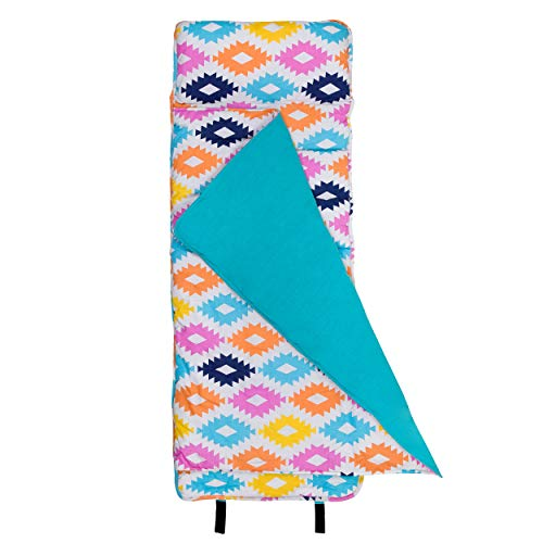 Wildkin Nap Mat with Pillow for Toddler Boys and Girls, Ideal for Daycare and Preschool, Sleeping Mat Measures 50 x .25 x 19.5 Inches with Cotton Blend Materials, BPA-free (Chevron Blue)
