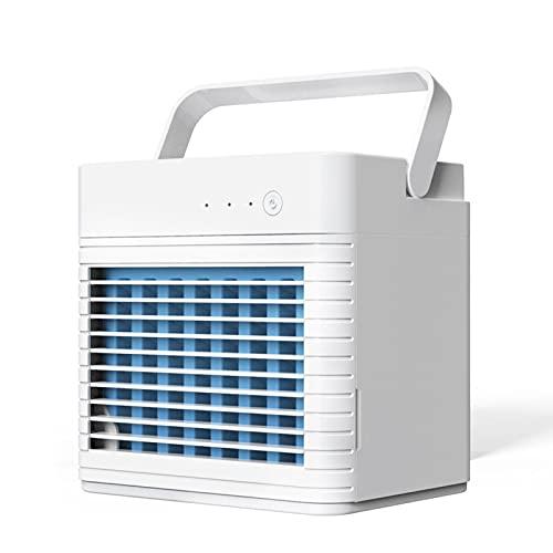 WOTEG Mini Enfriador De Aire, Mini Aire Acondicionado Portátil 3 En 1, Enfriador De Aire Y Humidificador, Ventilador Y Purificador Hogar Y La Oficina, 4000mAh