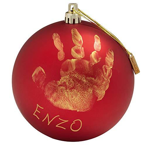 Baby Art My Christmas Fairy Pallina di Natale in Plastica, Decorazione Natalizia Albero Natale, con Kit Impronta, Rosso