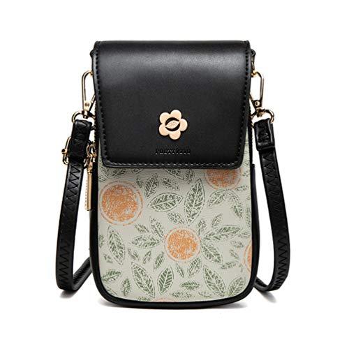 Fanshu Bolso de hombro para mujer mini teléfono celular bolsa de mujer chica Crossbody monedero bolso vintage con cremallera de impresión de metal