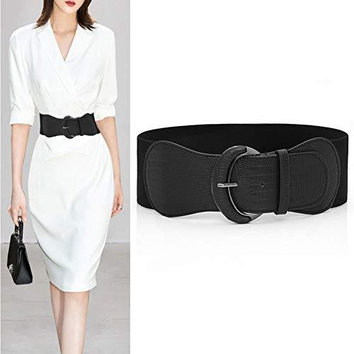 REYOK Cintura di Pelle Pizzo,Cintura Larga Donna,Elastico Pizzo Cintura Fusciacca per Donne Ragazze Accessori(Nero)