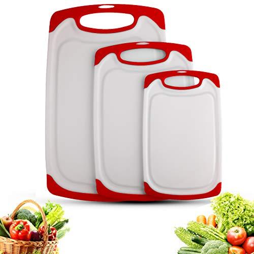 Tagliere Cucina, Tagliere Plastica con Scanalatura,Materiale PP per Alimenti,senza BPA, Resistente al Calore Antimicrobico e Non Tossico Lavabili in Lavastoviglie (Set di 3) (Rosso)