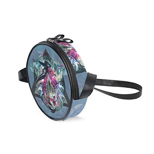 Handtasche mit blauem Hintergrund und Flaschen, bunt, digitale Kunstgeometrie, Pest Ärzte, Schultertasche, multifunktional, PU-Leder für Shopping, Reisen, rund