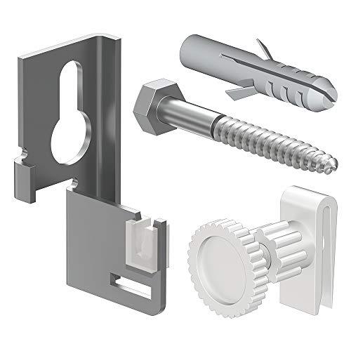 Laschen-Aufhängeset für Platten-Heizkörper - langlebige Kunststoffeinlage - mit Befestigungsmaterial für solide Befestigung in Beton- oder Ziegelmauerwerk - qpool24