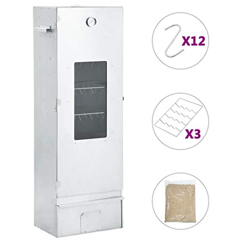 vidaXL Räucherofen mit 1 kg Hackschnitzel Thermometer für Außenbereich Räucherschrank Räuchertonne Räuchergrill Räuchern Smoker 44,5x29x124cm
