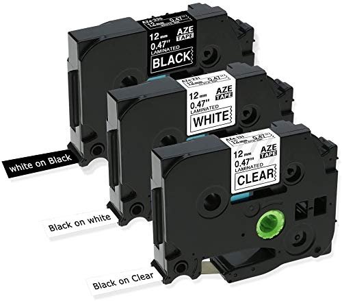 Invoker kompatible Schriftband als Ersatz für Brother TZe-131 TZe-231 TZe-335 Laminiert Etikettenband 12mm x 8m, für 1010 H100R H100LB H105 D200(Schwarz auf Transparent/Weiß,Weiß auf Schwarz,3er-Pack)