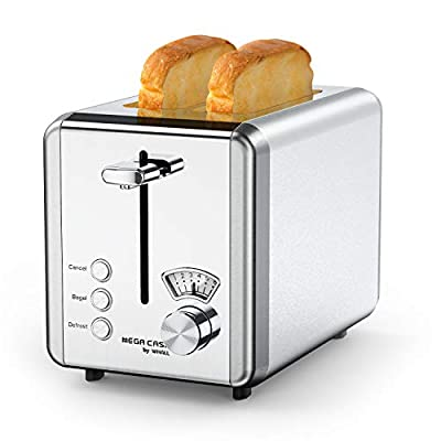 Toasters 2 Slice Best Rated Prime,Aucma by whall Stainless Steel,Bagel Toaster - 6 Bread Shade Settings,Bagel/Defrost/Reheat/Cancel Function,1.5in Wide Slots,Removable Crumb Tray,for Various Bread Types (850W,Sliver)