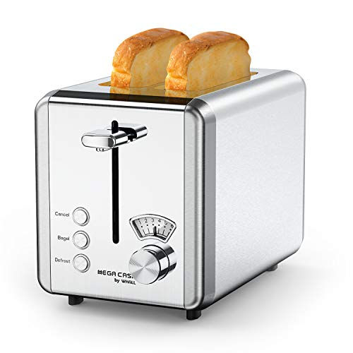 Toasters 2 Slice Best Rated Prime, whall Stainless Steel,Bagel Toaster – 6 Bread Shade Settings,Bagel/Defrost/Cancel Function,1.5in Wide Slots,Removable Crumb Tray,for Various Bread Types (850W) (KST022GU-Silver)