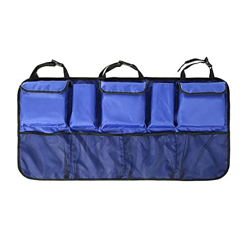 ZHENGYI Coche Trasero Asiento Trasero Bolsa de Almacenamiento múltiples Colgantes Redes de Bolsillo Tronco Caja Organizador candamiento automático Accesorios Interiores (Color Name : Blue)