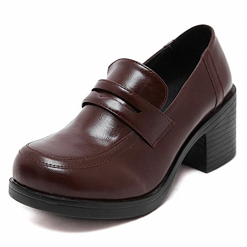 MEWOW Women's Girl's Lolita Mid Heel Students Uniform Dress Shoes for Costume and Daily (8.5, Brown)