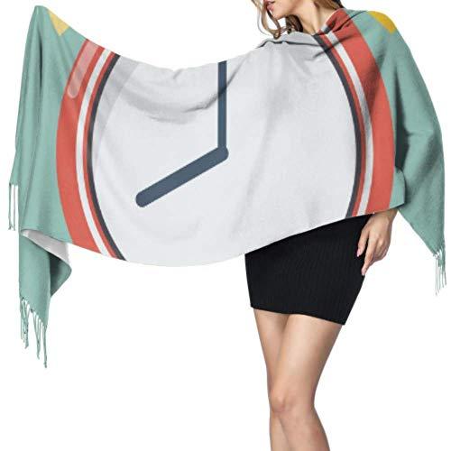 Jingliwang Bufandas Abrigo Chal Alarm Clock Wake-up Time Fringe Cashmere Scarf Womans Shawl Wrap Colored Shawl Wrap 77x27inch/196x68cm Large Soft Pashmina Extra Warm