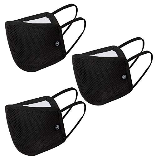 Reusable Multilayer Fabric Face Mask Unisex wih Air Mesh - Black Pack of 3 by Badger Smith