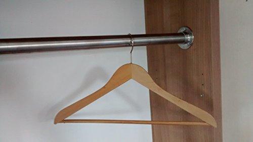 Preisvergleich Produktbild Premium Edelstahl Kleiderstange in Ihrem Wunsch-Maß - Edelstahl V2A D 33, 7 mm - hochwertige Oberfläche - Set für Garderobe Kleiderschrank oder Nische (151-200 cm) LIVINDO