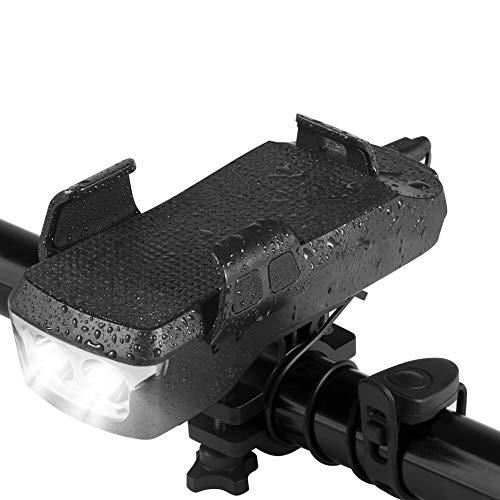 KINSAM USB Fahrrad Licht,Fahrrad Handyhalterung mit Elektrische Fahrrad Klingel und 4000mAh Telefon Aufladen,4-in-1 Fahrrad Beleuchtungsset led,Fahrrad Frontlicht passt Mountainbike,Fahrradlampe Vorne