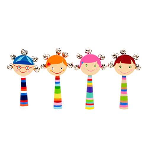BESPORTBLE 4 Piezas Instrumentos Musicales para Niños Pequeños Sonajero de Tambor de Bebé Maracas Sonajero de Mano de Madera Campana Vibrante Juegos de Juguetes Musicales para Niños Pequeños