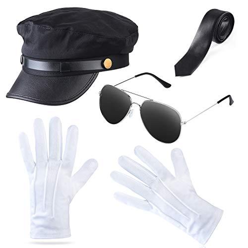 Haichen Chauffeur Kostüm Zubehör Limousine Taxifahrer Thema Hut Brille Handschuhe Fliege Kit Kostüm Hochzeit Fahrer Service Set (Schwarz3)