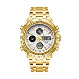 Reloj de múltiples Funciones de los Hombres de Cuarzo Resistente al Agua Reloj electrónico del Reloj Multifuncional Deportes al Aire Libre (Color : Gold Shell White Plate)