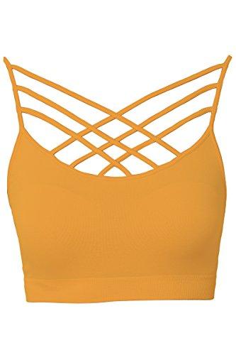TheMogan Women's Rmovable Pad Cage Bustier Bra Top Strappy Bralette Mustard 2X/3X