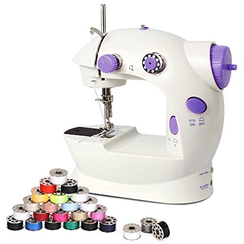 Mini Sewing Machine for Beginner, Adjustable 2-Speed with Foot Pedal, Dual Power Options, Electric Crafting Mending Machine with 25 PCS Bobbins