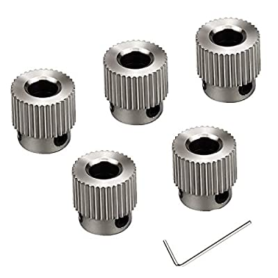 Demason 6 Pack Extruder Pulley 36 Teeth Bore 5mm Stainless Steel Drive Gear for 1.75mm & 3mm 3D Printer Filament