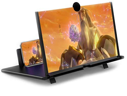 SUIFENG Handy Bildschirmlupe,12 Zoll 3D Hd Handy Vergrößerungs Bildschirm,Klappständer Ausziehart,Strahlenschutz,Geeignet für alle Handys,Schwarz