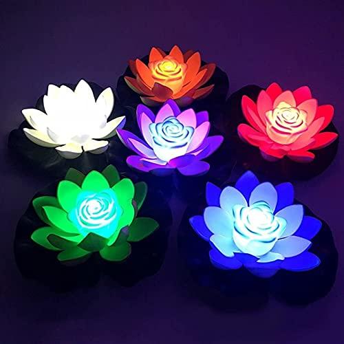 GYW 6 Piezas De Flores De Loto Flotantes, Luz De Loto Flotante Impermeable LED De 18 Cm, Lámpara De Noche De Flor De Lirio Artificial con Pilas para Estanque, Piscina, Jardín, Pecera