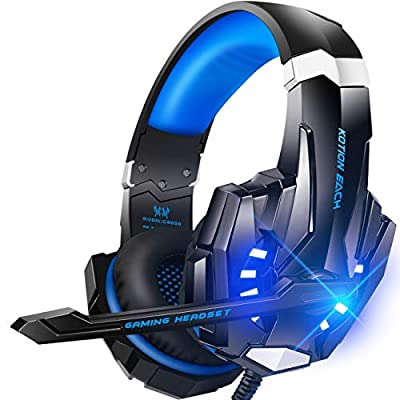 BENGOO G9000 Stereo Gaming Headset for PS4, PC, Xbox One Controller, Noise Cancelling Over Ear Headphones with Mic, LED Light, Bass Surround, Soft Memory Earmuffs for Laptop Mac Nintendo