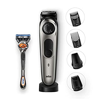 Braun Beard Trimmer BT7040 and Hair Clipper Detail Trimmer and Mini Foil Shaver Attachments Sharp Metal Blades Free Gillette Fusion5 ProGlide Razor Charging Stand Black/Grey, 2 pin plug by Procter & Gamble