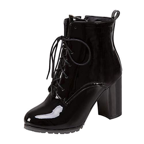 Stiefelparadies Damen Stiefel FGHYH Mode Frauen Hoher Absatz Schnürstiefel Britischen Stil Lackleder Stiefeletten(42, Schwarz)