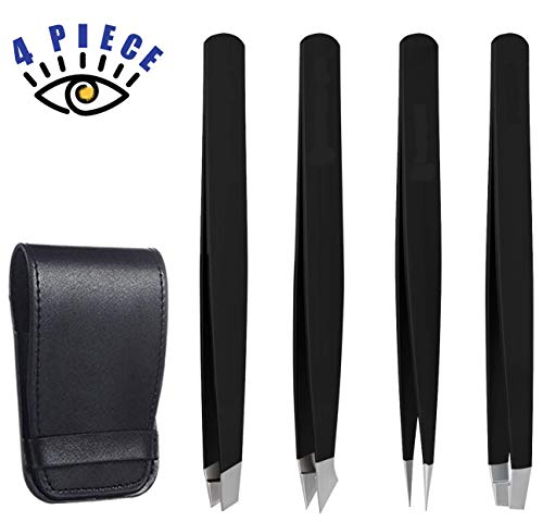 RoosterCo Eyebrow Tweezer Set with Travel Case,4-piece Daily Beauty Tools for Hair Removal, Best Precision (Black)