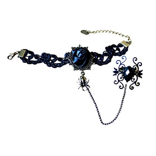 Amosfun Gothic Retro Lace Slave Armband mit Ring Handarbeit Armband Ring Halskette Set Dekoration für Cosplay Punk Lolita Halloween