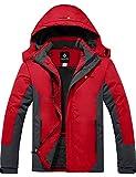 GEMYSE Chaqueta de Esquí Impermeable de Montaña para Hombre Abrigo de Invierno de Lana Antiviento con Capucha (Roja Gris,M)