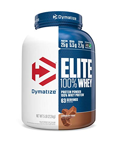 Dymatize Elite 100% Whey Protein Powder, 25g Protein, 5.5g BCAAs & 2.7g L-Leucine, Quick Absorbing & Fast Digesting for Optimal Muscle Recovery, Chocolate Fudge, 5 Pound, 63 Servings