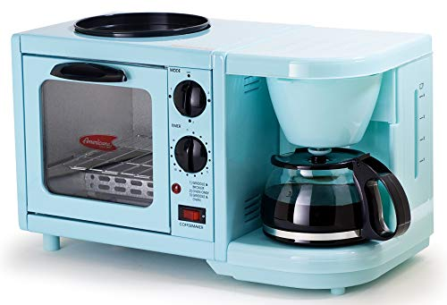 Americana EBK-200BL Retro Nostalgia 3-in-1 Breakfast Maker Station 4 Cup Coffeemaker, Toaster Oven with Timer, Griddle, Aqua