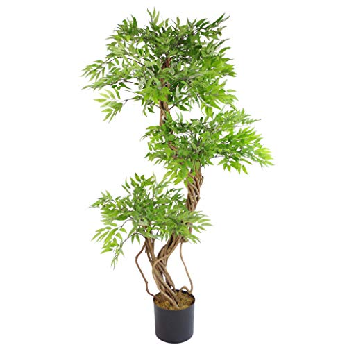 Leaf 140cm Realistic Artificial Japanese Fruticosa Ficus Tree, Green & Black